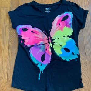 Justice size 10 black butterfly cold shoulder tee